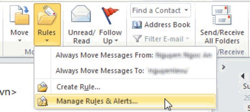 Không hiển thị mail trong Outlook